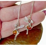 Genuine Amber Fairy Earrings, Sterling Silver and Baltic Amber Tinkerbell Fairy Earrings