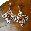 Celtic Earrings - Sterling Silver and Baltic Amber