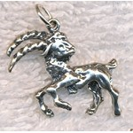 Sterling Silver Capricorn Charm-Pendant, 3D