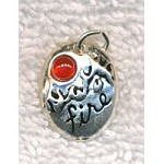 Sterling Silver Fire Element Charm with Carnelian Cab