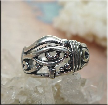 SOLDOUT - Sterling Silver Eye of Horus Ring, Egyptian Ring, Size 8