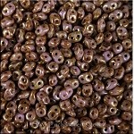 SuperDuo Beads, Opaque Smoky Topaz Gold Luster