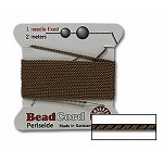 BROWN Griffin Silk Beading Cord with Needle Size 4