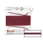 GARNET Griffin Silk Beading Cord with Needle, Size 6
