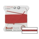 Silk Beading Cord with Needle, Griffin RED CORAL Size 2