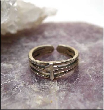 SOLD - Sterling Silver Cross Toe Ring