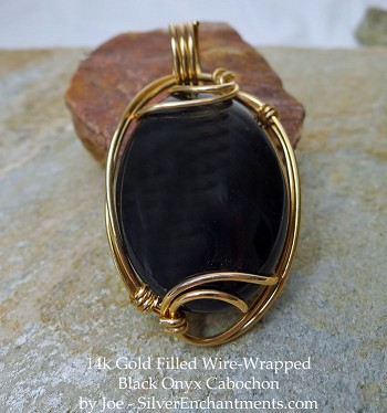 14k Gold Wire-Wrapped Black Onyx Cab Pendant