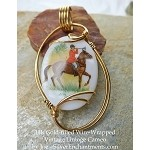 Wire-Wrapped Hunter on Horseback Vintage Cameo Pendant, 14k GF