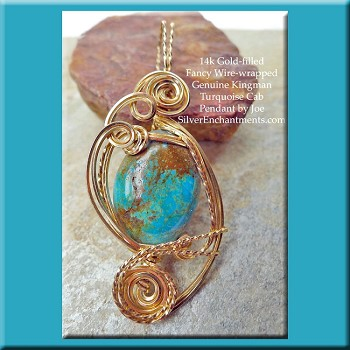 Wire-Wrapped Kingman Turquoise Pendant, 14k GF Arizona Turquoise Jewelry
