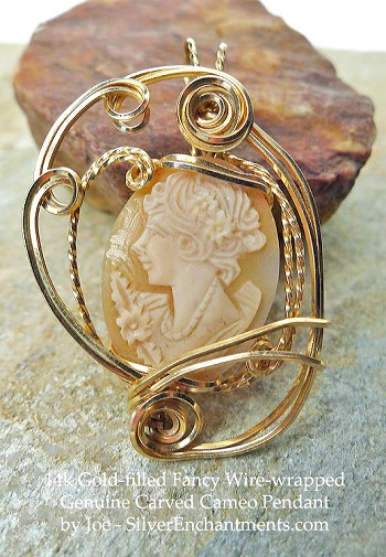 14k Gold Fancy Wire-Wrapped Vintage Hand-carved Shell Cameo Pendant